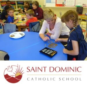 St. Dominic's student and logo